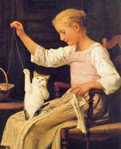 Albert Anker Girl Knitting